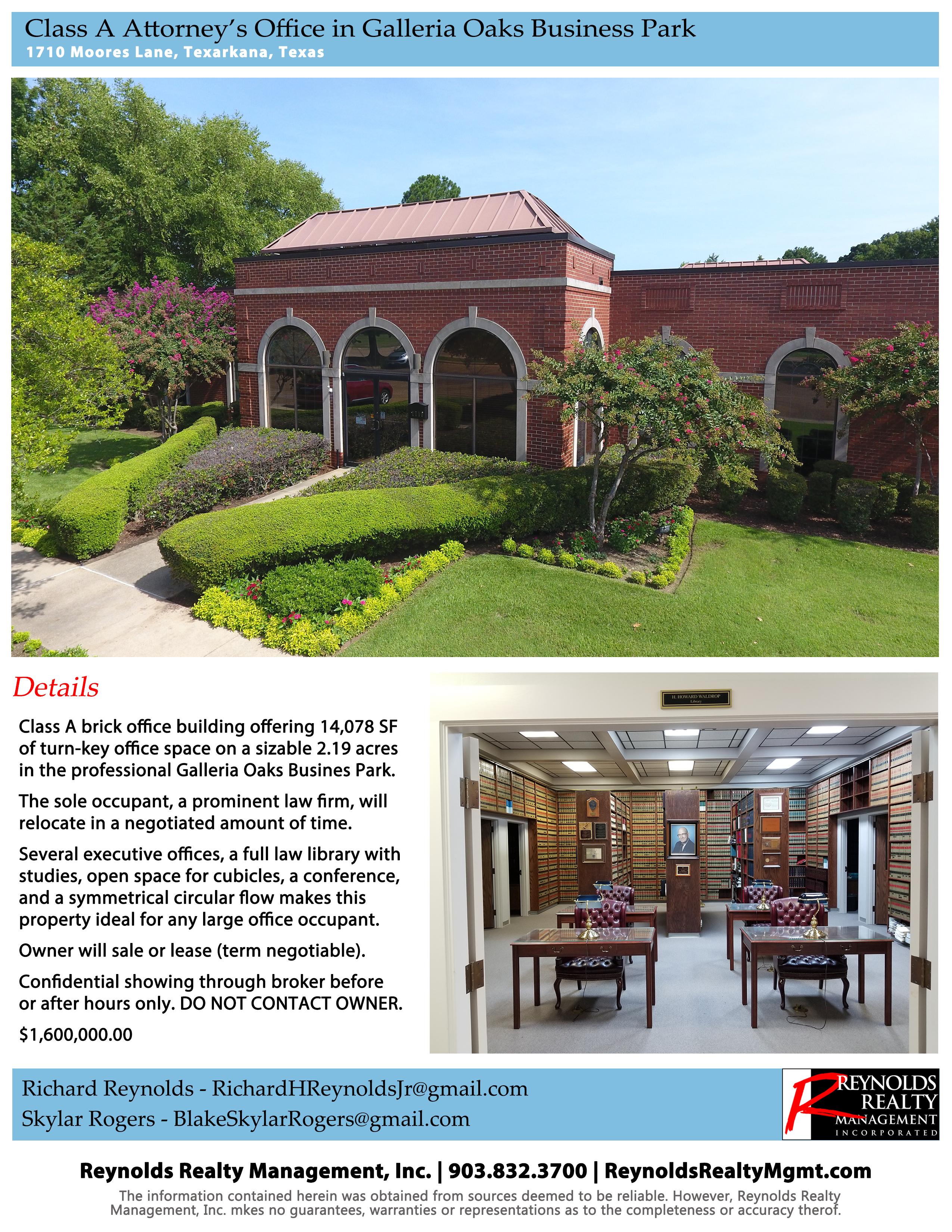 1710 Moores Lane, Class A Office Building, Texarkana, Texas